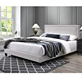 DG Casa Ocean Upholstered Platform Bed Frame with Nailhead Trim Headboard and Full Wooden Slats, Queen Size in Beige Fabric