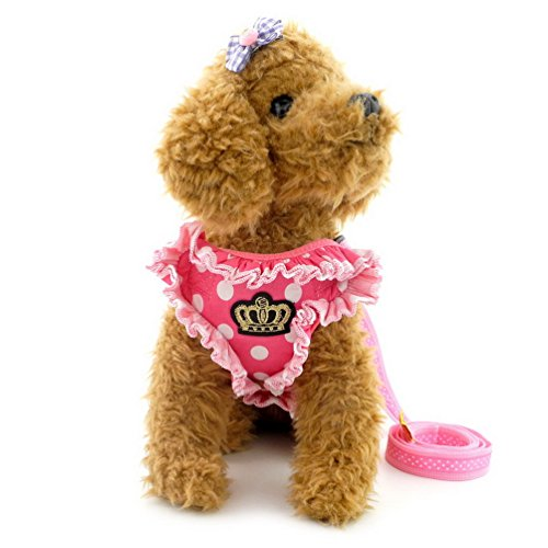 (SMALLLEE_LUCKY_STORE Polka Dot Small Dog Cat Harness Vest with Ruffles,Soft Mesh Harness and Leash Set for Girls No Pulling Adjustable Pink XL)