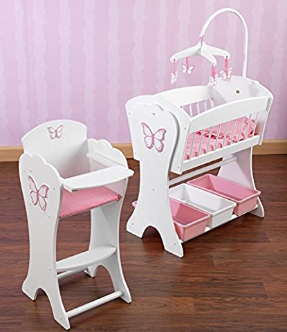 Kidkraft Pretty Pink Butterfly Doll Furniture Set - Doll Furniture High Chair