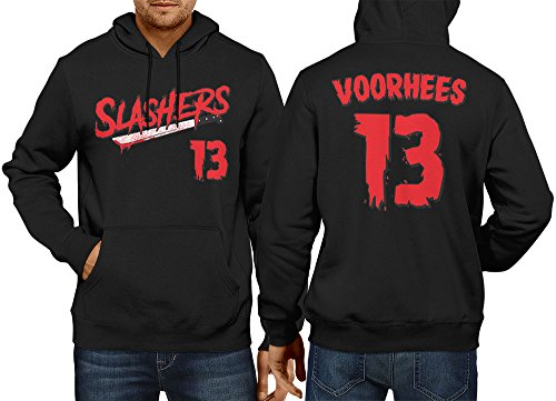 HAASE UNLIMITED Men's Slashers Voorhees 13 Jersey Hoodie Sweatshirt (Black, X-Large)]()