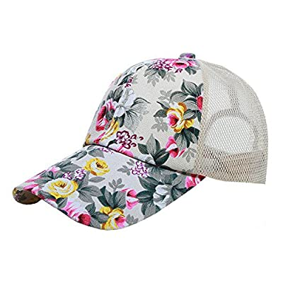 Womens Floral Hat Adjustable Snapback Baseball Cap Quick Dry Mesh Sun Hats