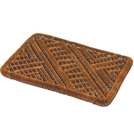 JVL Boston Natural Coir Steel Scraper Outdoor Entrance Door Mat, Metal,  Brown, 39