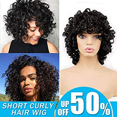 Short Afro Curly Synthetic Hair Wigs For Black Women Andromeda Soft Fluffy Big Curls Hair Wig Natural Black Loose Curly African American Costume