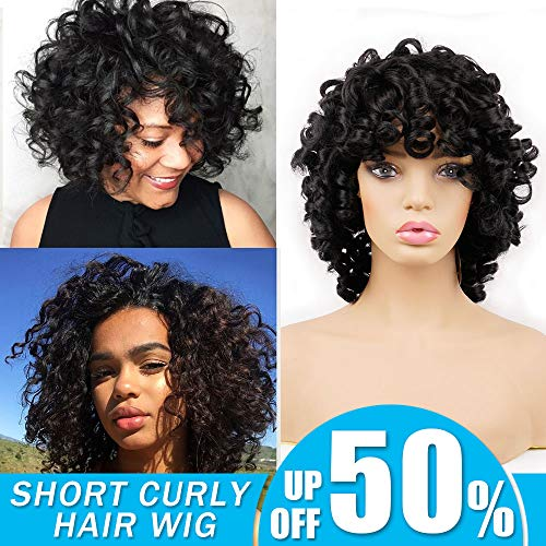 Search : Short Curly Synthetic Hair Wigs Andromeda Afro Deep Curly Hair Wig for African American Black Women Heat Resistance Fiber Hair Wig Cosplay Halloween 14Inch 195g (Black)