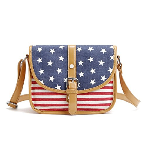Price comparison product image American US Flag Pattern Flap Top Canvas Saddle Cross Body Bag Womens Purse (American Flag)