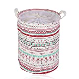 SUNKY Pop-up Laundry Basket, Waterproof Foldable Fabric Cotton Linen Bin Hand-held Hamper Bag Dirty Clothes Toy Collections Storage Organization - Bohemia