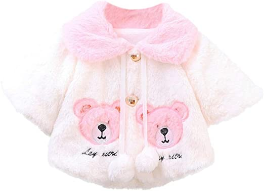 Hotiary Autumn Winter Infant Baby Girls Warm Coat Cloak Jacket Kids 3D Flower Outerwear for 0-3Years Girl