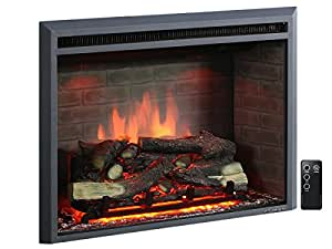 "PuraFlame 30"" Western Electric Fireplace Insert with Remote Control, 750/1500W, Black"