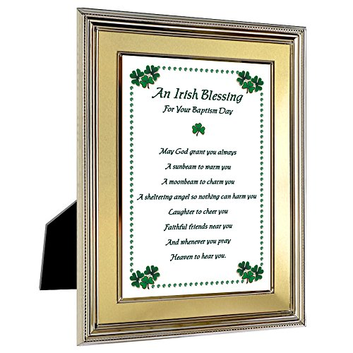 Irish Blessing Baptism Gift in 5x7 Inch Gold Silver Frame