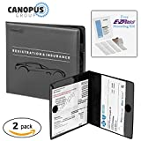 Car Insurance and Registration Holder, Wallet for Auto, Trailer, Truck - 2 Pack with EZ Pass Mounting Kit, Ez Pass Strips by Canopus
