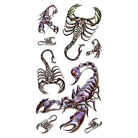 Oottati Pequeño Lindo Tatuaje Temporal Halloween Escorpión (2 ...