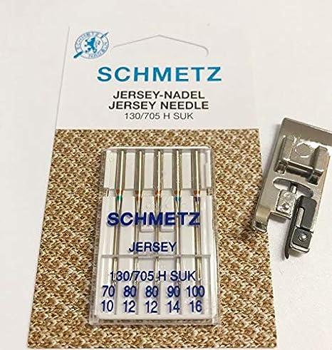 (Juego) overlockfuß prensatelas + 5 Jersey agujas para Singer AEG Medion W6 Máquina de coser: Amazon.es: Hogar
