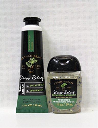 Bath & Body Works - Aromatherapy - Shea Butter Hand Cream & PocketBac Duo - Stress Relief - Eucalyptus & Spearmint - Travel Size