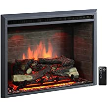 """PuraFlame 30"""" Western Electric Fireplace Insert with Remote Control, 750/1500W, Black"""