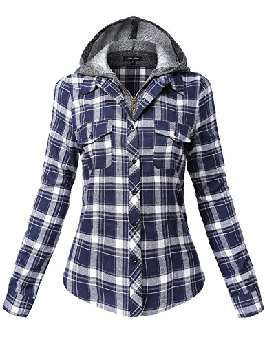 Undetachable Two Tone Terry Mixed Hoodie Plaid Shirts,137-navy_offwhite,Medium