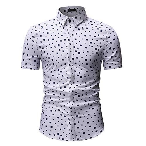 Jiameng Elegante Slim Uomo A Camicie Uomo Maniche Da Moda Corte Stampata Camicia Bianco Top z0rwqz