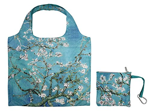 Reusable Grocery Bags with Zipper Closure,Foldable into Zippered Pocket (Almond Blossom) (Shopping Totes)