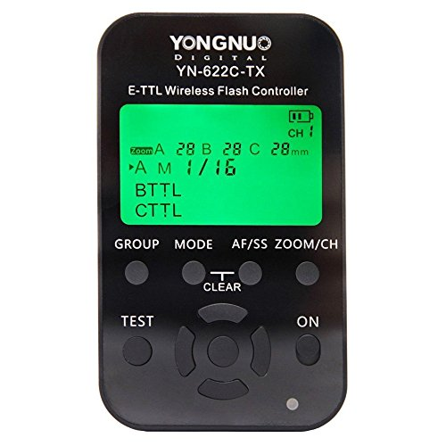 YONGNUO YN-622C-TX 7-Channel E-TTL Wireless Flash Controller for Canon E-TTL/E-TTL II Cameras, 2.4GHz Frequency, 1/8000sec Sync Speed