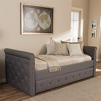 Amazon.com: baxton studio Perry tela sofá cama con cajones ...