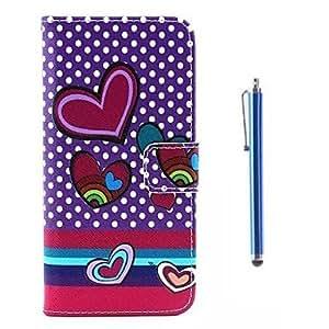 ZXM-Patrón en forma de corazón de la PU de la ensenada de cuero y pluma de la capacitancia con soporte para el iphone 6