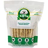Lucky Premium Treats Peanut Butter Basted Rawhide Dog Treats for Small Dogs Made in The USA Only, Basted Peanut Butter Rawhide Twists, 35 Chews