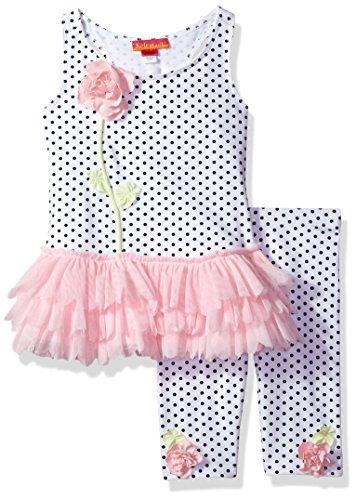 Kate Mack Girls' Toddler Polka Rose Tunic & Legging Set, White/Black ()