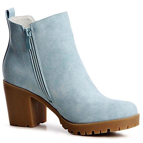 topschuhe24 1211 Damen Plateau Stiefeletten Boots Booties Blockabsatz Blau