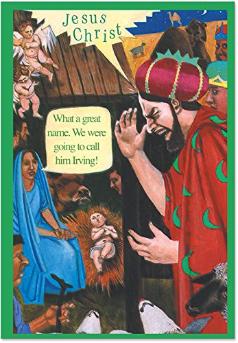 Nativity Card Christmas Scene (12 Boxed 'Name Him Irving' Christmas Cards with Envelopes (4.75 x 6.625 Inch), Hilarious Nativity Scene with Baby Jesus Holiday Notes, 3 Kings with Virgin Mary Adult Humor Christmas Notes B1381)