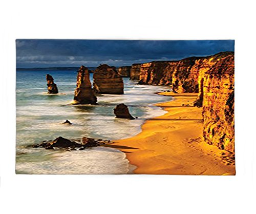 Dwarf Costume Australia (Interestlee Fleece Throw Blanket Seaside Decor Collection Twelve Apostles Australia Sunset Great Ocean Road Coast Cliff by Sea Picture Gold Navy)