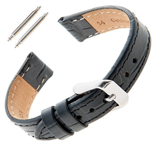 Gilden Ladies 12-14mm Gator Grain Black Leather Watch Band F30-0112 (12 Millimeter end Width, Silver-Tone Buckle)