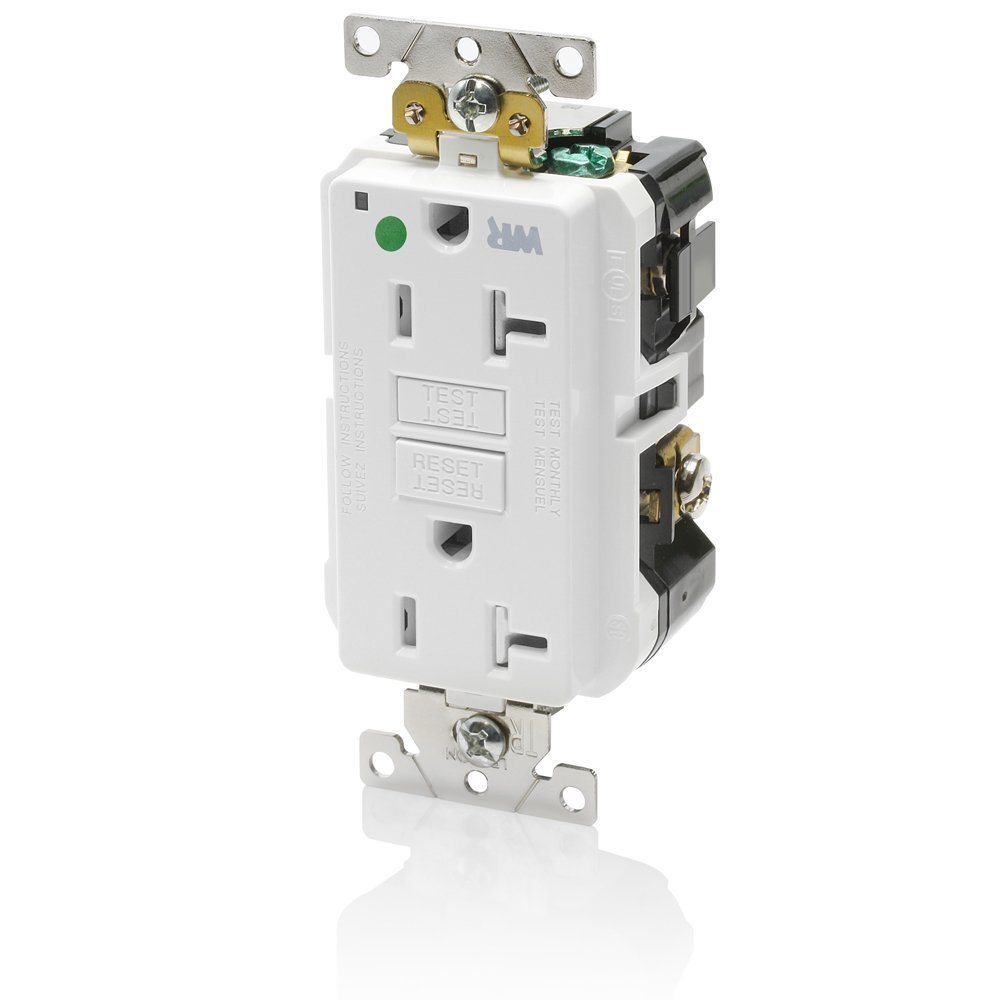 Leviton GFWT2-HGW 20A-125V Extra-Heavy Duty Hospital Grade Tamper/Weather-Resistant Duplex Self-Test GFCI Receptacle, 20-Amp, White,