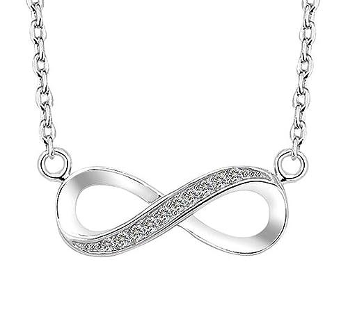 Bishilin 925 Sterling Silber Cubic Zirkonia Damen Unendlichkeit Halskette Infinity Anhänger, Mein Fürever Endlose Liebe