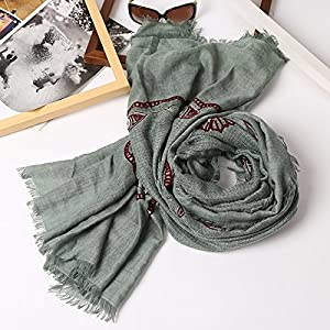 DIDIDD During the Spring and Autumn Cotton Linen Breathable Scarf Women Scarves Solid Color Linen Towels Long Winter and Versatile Scarves Embroidery Silk Scarf