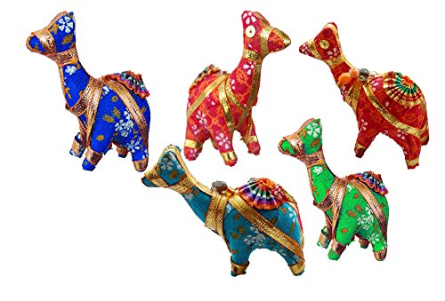 Rastogi Handicrafts Set of 5 Multi Colored Elephant,Bird,Camel,Heart,Bell,Umbrella Festival Decorative Collectible Fabric Animals Or (CAMEL) ()