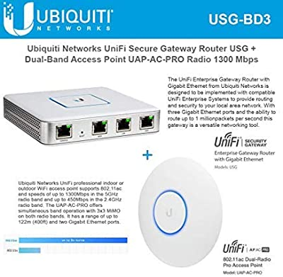 UniFi Security Gateway USG Router with Gigabit Ethernet with Unifi AP AC PRO UAP-AC-PRO-US 802.11ac PRO Wireless Access Point Wi-Fi System