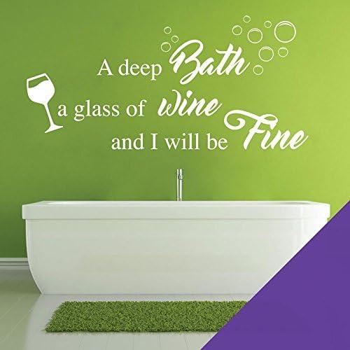 Amazon Com A Deep Bath A Glass Of Wine And I Will Be Fine Wall Quote Bathroom Wall Art Sticker Purple Furniture Decor