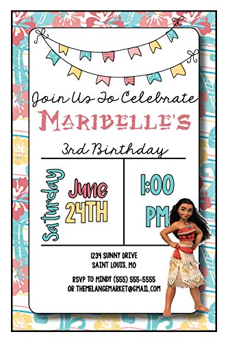 The Melange Market Custom Birthday Party Invitation - Moana, Personalized (20 Count)