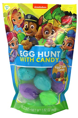 Nickelodeon Paw Patrol, Shimmer and Shine, and TMNT Assorted Candy Filled Easter Eggs, 16 Count