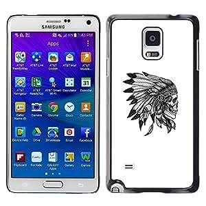 YOYOYO Smartphone Protección Defender Duro Negro Funda Imagen Diseño Carcasa Tapa Case Skin Cover Para Samsung Galaxy Note 4 SM-N910F SM-N910K SM-N910C SM-N910W8 SM-N910U SM-N910 - cráneo plumas tocados nativa americana