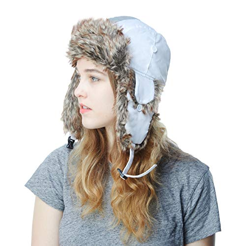 Fur Aviator Hat - Faux Fur Safety Reflective Aviator Trapper