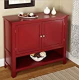 Country Kitchen Buffet Buffet Deep Red Montego Sideboard for Your Dining Area or Kitchen Two Doors with Open Shelf Below