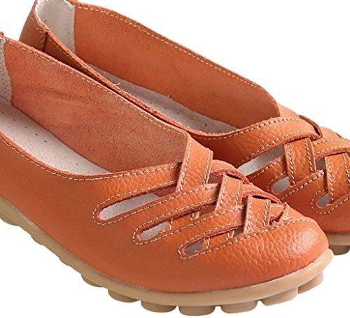 Cowhide Leather Fangsto Slip Sandals Women's on Flats Loafers Orange 7EEr5gqw