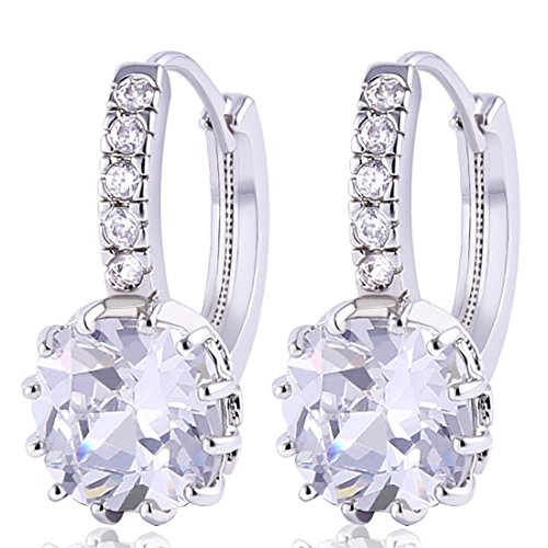 Princess Prong - GULICX Silver Princess Prong Clear Cubic Zirconia Huggie Hoop Earrings