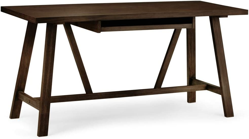 SIMPLIHOME Dylan SOLID WOOD Modern Industrial 60 inch Wide Home Office Desk, Writing Table, Workstation, Study Table Furniture in Dark Tobacco Brown