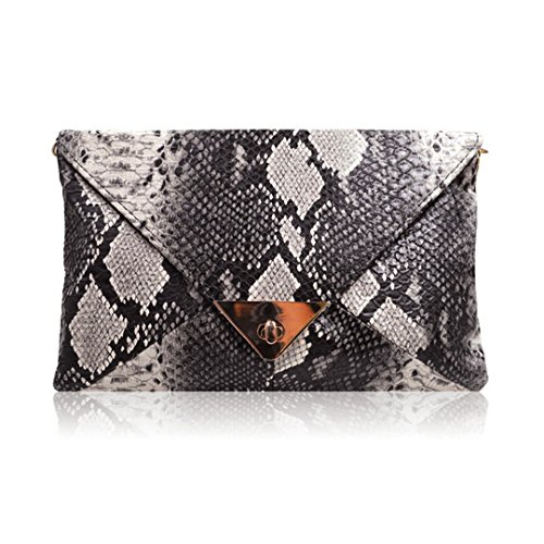 Orfila Women Envelope Clutch Handbag Snakeskin Chain Shoulder Crossbody Bag,Black,One Size