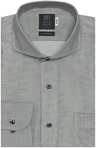 ブリックハウス ワイシャツ 長袖 形態安定 Wガーゼ ホリゾンタル ワイド 綿100% 袖の長い・大きい メンズ BM018200AC13Z4G-30