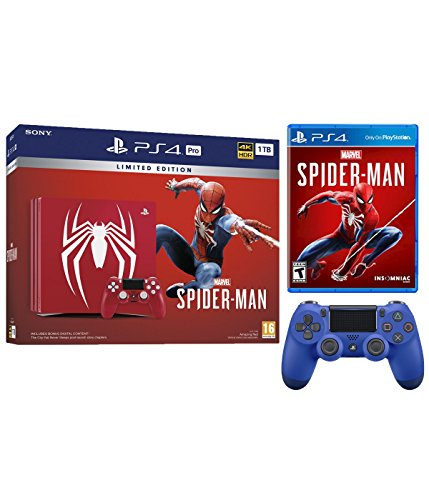 Playstation 4 Pro Marvel's Spider-Man Limited Edition Amazing Red 1TB Console and Extra Blue Dualshock Wireless Controller Bundle