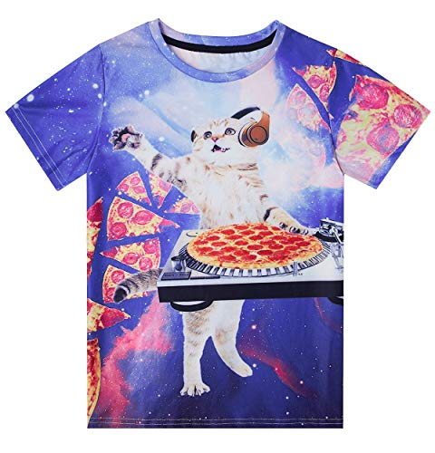 Little Boys Girls Graphic Tees Funny Pizza Cats Printed Short Sleeve Kitty Pattern T Shirt Tops for Primary School 6-8 Years - Kitty Girls T-shirt