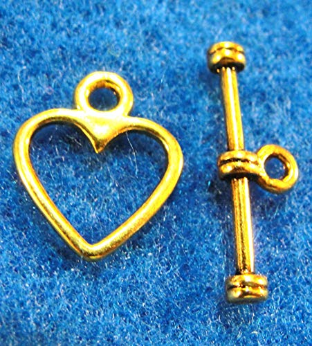 20Sets Tibetan Antique Gold Heart Toggle Clasps Connectors Hooks Findings C341 Crafting Key Chain Bracelet Necklace Jewelry Accessories Pendants
