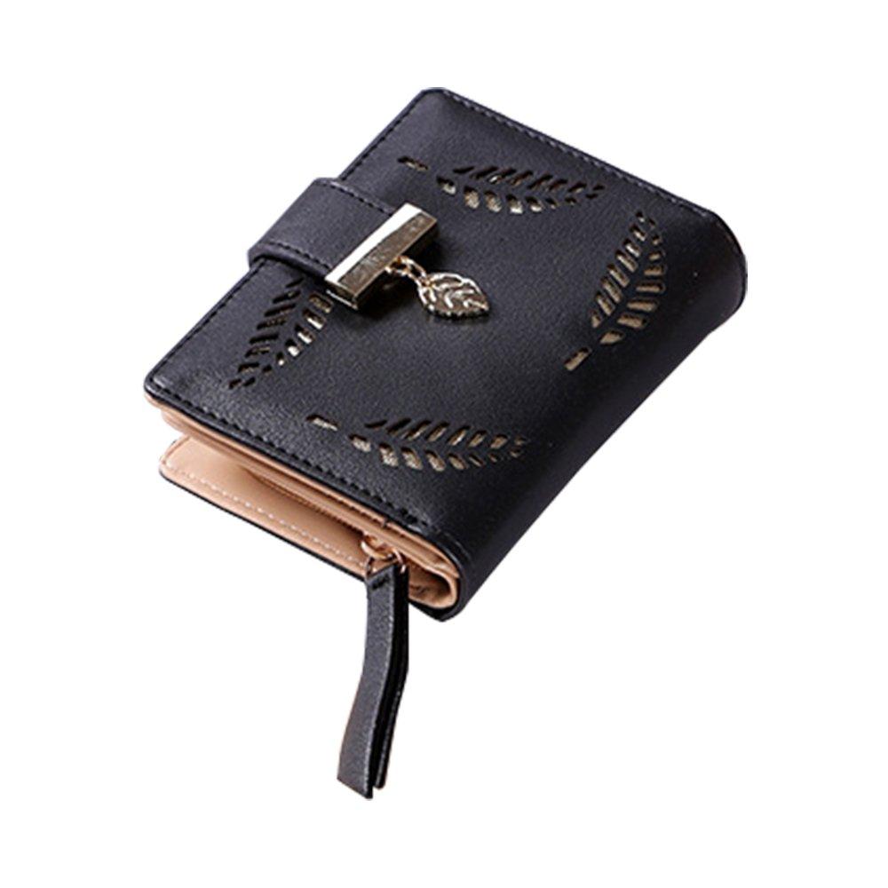 Artwell Women Short Bifold Wallet Leather Clutch Handbag Purse Card Cellphone Holder Organizer (Black)